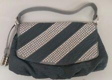 NWOT Blue Elegance Navy With Grey Jeweled Handmade Handbag/Shoulder Bag 000967