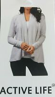 Active Life Large Heather Gray Soft Modal Knit Open Drape Front Cardigan Sweater