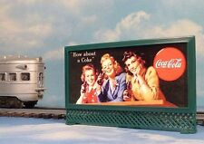 COCA-COLA COLLEGE GIRLS LIGHTED BILLBOARD for LIONEL TRAINS and MODEL RAILROAD