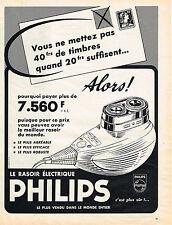 PUBLICITE ADVERTISING 084  1958   PHILIPS  rasoir éléctrique