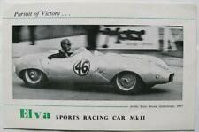 ELVA Sports Racing Car Mk II Mk IB Sales Brochure c1958 + Price Lists
