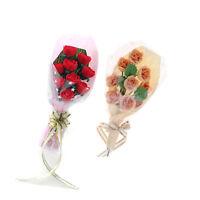 2pcs 1/12 Scale Dollhouse Miniature Clay Rose Flower Bouquet Home Decoration