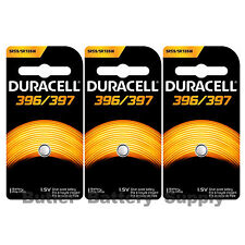 3 x 396/397 Duracell Silver Oxide Batteries (AG2, 396, 397, SR59, SR726SW)