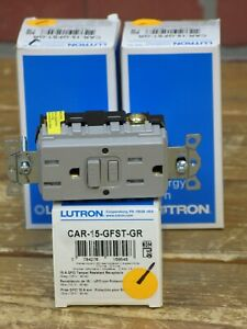 Lutron CAR-15-GFST-GR Claro 15 Amp Self-Testing Receptacle, Gray >>EACH<<