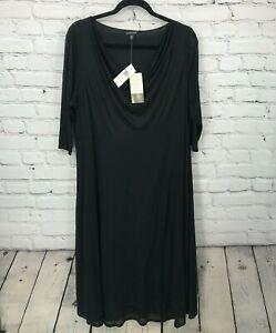 New Eileen Fisher Dress Womens XL Extra Large Black Drape Neck Midi Dress