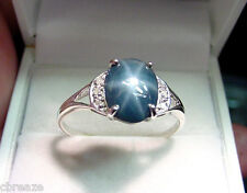 GENUINE NATURAL BLUE STAR SAPPHIRE 2.92 CT w/ DIAMONDS 925 STERLING SILVER RING