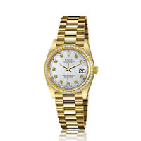 Rolex 31mm Presidential 18kt Gold White MOP Mother Of Pearl Diamond Dial RT Diam