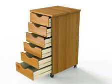 NEW 6 Drawers Rolling Wood End Table Craft Storage Cart Cabinet Furniture Sewing