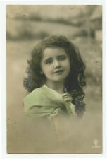 c 1910 Children Child Cute PRETTY LITTLE GIRL tinted photo postcard