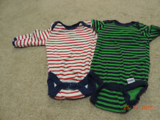 2 One pieces Gerber and Gum Ball Striped Red and White/ Blue/Green Boy Size 0-3