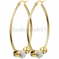 Fashion Beaded Rhinestone Gold Tone Stainless Steel Big Hoop Earrings For Women