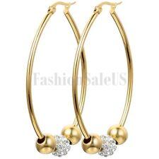 Fashion Beaded Rhinestone Gold Tone Stainless Steel Big Hoop Earrings For Women
