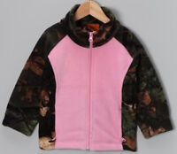 TrailCrest Fleece Pink Camo Kids Girls Camouflage Zipper Jacket Sweater Coat