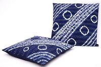 2PC Indigo Blue Shibori Kantha Decorative Tie Dye Cushion Cover Boho Pillow Case