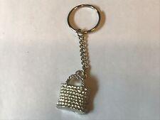 Wicker Handbag TG98 English Pewter on a Split Ring Keyring