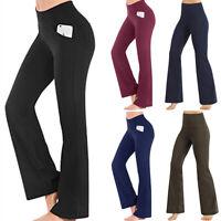 High Waist Yoga Pants Womens Flare Wide Leg Gym Sports Bootcut Fitness Trousers