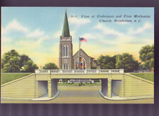 HENDERSON NORTH CAROLINA NC First Methodist Church Underpass Linen Postcard