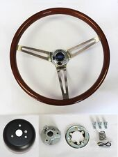 "High Gloss Wood Steering Wheel to fit Ididit Flaming River Column 15"" Ford cap"