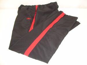 Reebok Women's Lined Track Pants Black Red Stripe US M UK 12 Yoga Running