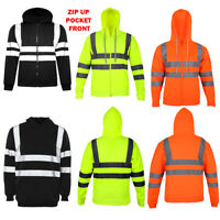 NEW MEN'S HI VIS VIZ TROUSERS SAFETY WORK WEAR JOGGING BOTTOMS PANTS HOODIE TOP
