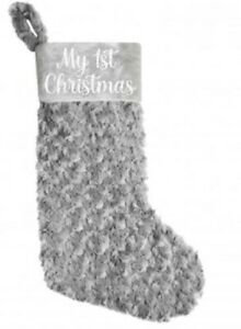 my 1st Christmas stocking, Large, grey glitter, gift, fluffy, strong, décor
