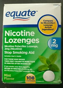 108 EQUATE NICOTINE LOZENGES 2 MG MINT FLAVOR. EXP 09/2022 FREE SHIPPING