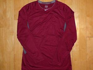 -NIKE PRO COMBAT Mens DRI-FIT Maroon Garnett w Gray Medium M Long Sleeve Shirt