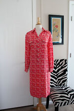 Vtg Schrader Coral Geometric Print Shirt Dress Pockets 10 Modest 60's 70's LG