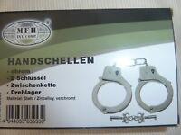 MFH Handschellen in chrom mit 2 Schlüsseln,Zwischenkette,Drehlager,Material St