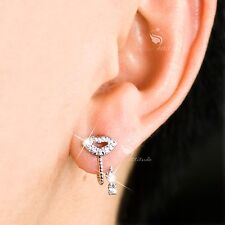 18k white gold gf made with SWAROVSKI crystal kiss lip key earrings 925 silver