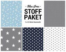 Stoffpaket blau grau 5x (0,5x1,50m) Patchworkpaket Baumwolle Nähpaket DIY Stoffe