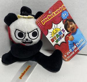 "Ryan's World 4"" Clip On Plush Toy Pocket Watch Combo Panda New K1 NWT"