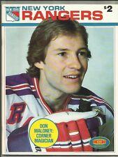 March 22, 1981 New York Rangers vs Quebec Hockey Program---Don Maloney