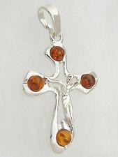 Anhänger Kreuz Silber 925 mit Korpus Silberkreuz mit Bernsteinen Kettenanhänger