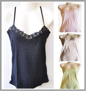1 New Cotton Ladies Strip Singlet  Lace Motif Design Black White Pink Green
