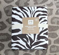 Pottery Barn Teen Funky Zebra Organic Full Sheet Set Dark Coffee animal print