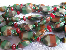 VINTAGE WEST GERMANY GLASS BEAD NECKLACE DOUBLE STRAND SLIDE CLASP AUTUMN COLORS