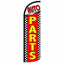 Auto Parts Windless Swooper Feather Flag Tall Banner Sign 3' Wide Red Yellow