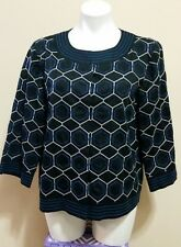 Chico's Black Geometric Print Embroidery Mandarin Collared Cotton Jacket Size 2
