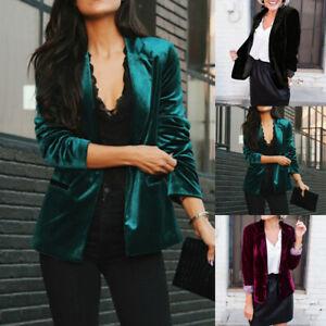 Womens Long Sleeve Velvet Office Blazer Pleuche Jacket OL Formal Coat Outwear