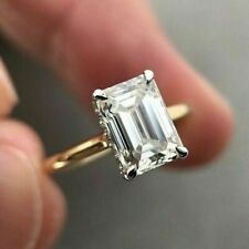 Yellow Gold Wedding Engagement Rings 3Ct Emerald Cut Moissanite Rings Genuine10K