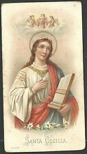 Holy card antique de Santa Cecilia santino image pieuse estampa