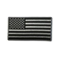 """Embroidered 4"""" American US Flag Black Grey Sew or Iron on Patch Biker Patch"""