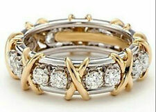 Ring 14k Yellow Gold Over Silver 2Ct Round Diamond Eternity Band Right Hand