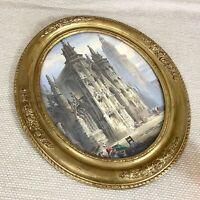 Antico Francese Acquerello Pittura con Cornice Evreux Cathedral Francia Ovale