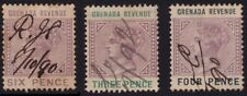 /GRENADA 1884? REVENUES x3 (3d-THINNED/6d-HOLED only 4d GOOD USED @BM184