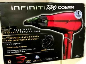 Pro by Conair 1875W Hair Dryer Salon Performance 50% Faster Drying Red
