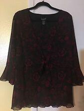 Biyaycda  Red/Black Floral  Blouse SZ  1X
