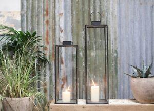 Black Metal Glass Lantern Large Rectangular Square Tea Light Holder Sia Nkuku