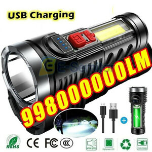 Super Bright 10000000LM Torch Led Flashlight USB Rechargeable Tactical light
